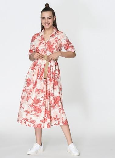 Loves You Çiçek Desenli Vual Gömlek Elbise Ekru